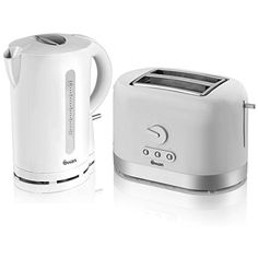 Swan Stainless Steel 1.7 Litre White Jug Kettle And 2 Slot Electric...