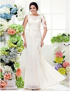 Lanting Floor-length Chiffon Bridesmaid Dress - Ivory Plus Sizes / Petite Sheath/Column Bateau
