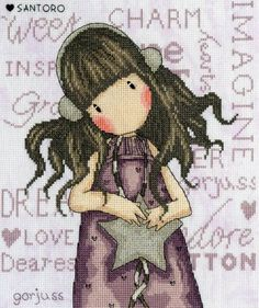 Counted cross stitch design by Bothy Threads. The kit comes with pre-sorted stranded cottons and special effect threads and uses full cross stitch, back stitch and one French knot. Beads and a heart button embellish the design. Hand Embroidery Kits, Cross Stitch Embroidery, Embroidery Patterns, Cross Stitch Designs, Cross Stitch Patterns, Bothy Threads, Stitch Doll, Tapestry Kits, Perler Patterns