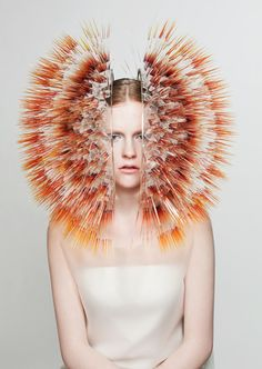 """""""Hundreds of colourful bristles emanate from headdresses in Maiko Takeda's millinery collection"""" ~PurelyInspiration"""
