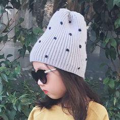 New arrival baby girls hat dot kids woolen hat kids warm crochet hat kawaii baby winter hat girls accessories drop shipping