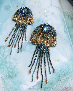 MAKEtoORDER Jellyfish brooch Beadwork sea broach Bead embroidery gold brooch with Swarovski Marine inhabitants Exclusive handmade big broch - Bead embroidery patterns - Bead Embroidery Patterns, Bead Embroidery Jewelry, Beaded Embroidery, Hand Embroidery, Beaded Jewelry, Bead Embroidery Tutorial, Diamond Jewelry, Beaded Brooch, Jewelry