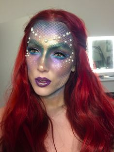 DIY mermaid costume your costume idea for halloween, mardi gras and carnival Mermaid Face Paint, Mermaid Diy, Mermaid Makeup, Mermaid Costume Makeup, Mermaid Fancy Dress, Mermaid Costumes, Fairy Costumes, Fairy Makeup, Halloween Makeup Looks