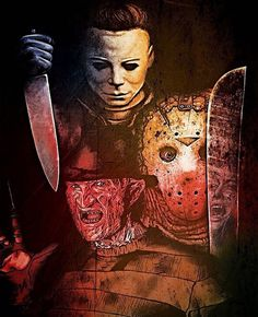 Horror art Michael Myers Freddy Krueger Jason Voorhees