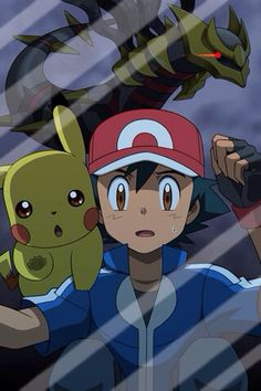 Ash, Pikachu, and Giratina