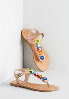 Hop on Pop Art Sandal - Flat, Faux Leather, Multi, Solid, Flower, Casual, Beach/Resort, Boho, Summer, Better, Slingback, T-Strap, Festival