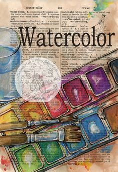 PRINT: Watercolor Mixed Media Drawing on Distressed, Dictionary Page by Kristy Patterson at Flying Shoes Art Studio in Guymon, Oklahoma Art Journal Pages, Journal D'art, Art Journals, Watercolor Mixing, Watercolor Paintings, Watercolours, Watercolor Paper, Book Page Art, Book Art