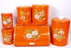 Vtg Ransburg Orange Hand Painted Floral 5 Pc Metal Canister Set  & Bread Box