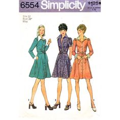 Misses' 1970s Short Dress Sewing Pattern: The short dress with gored skirt stitched to bodice at normal waistline has shirt type collar, front button closing, back inset, self fabric tie ends and set-in sleeves gathered to armholes. V.1 has long s...