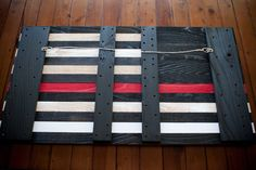 Thin Red Line wood flag, wooden wall art by Patriot Wood