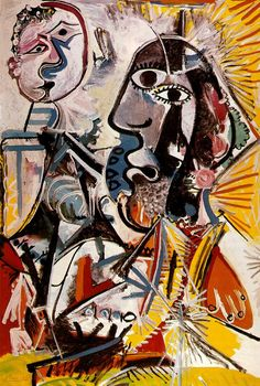 Pablo Picasso - Big heads (1969) from http://www.paintingsframe.com/Pablo+Picasso-painting-c46.html #picasso #art
