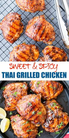 This Sweet and Spicy Thai Grilled Chicken has real Thai flavours Chicken thighs marinated in Thai Sweet Chili Sauce Lemongrass fish sauce and grilled to perfection Perfect Summer grilling recipe summerfood grilling Thai Grilled Chicken, Grilled Chicken Thighs, Grilled Meat, Grilled Recipes, Grilled Shrimp, Grilled Salmon, Grilled Chicken Thigh Marinade, Thai Bbq Chicken Recipe, Chicken Breasts