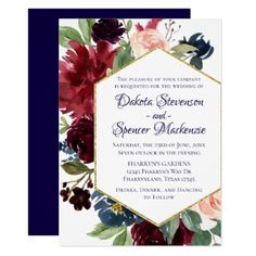 Floral Bloom | Navy Blue Marsala Burgundy Blush Card - invitations custom unique diy personalize occasions