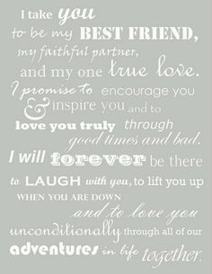 Just about perfect vows
