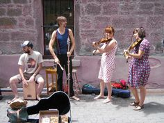 Bands preparing for the Cygnet Folk Festival at Salamanca.  Article & photo by Roger Findlay.