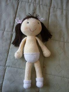 Crocheted Amigurumi Girl - Free Crochet Pattern from Karina Kraser. Crochet For Kids, Free Crochet, Crochet Baby, Crochet Dolls Free Patterns, Doll Patterns, Crochet Patterns Amigurumi, Amigurumi Doll, Knitting Projects, Crochet Projects