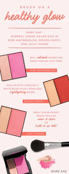 Feeling cheeky? Mary Kay® Mineral Cheek Color Duo delivers a sheer or saturated glow in rich, vibrant shades great for any skin tone!