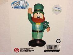6' ST. Patricks Day Leprechaun Shamrock Clover Airblown Inflatable Yard Decor