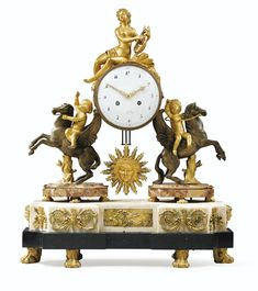 date unspecified A PATINATED AND GILT-BRONZE MOUNTED MARBLES MANTEL CLOCK, LOUIS XVI Estimate 8,000 — 12,000 EUR 9,058 - 13,587USD. unsold