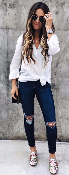 How to dressed to the office loving casual style? Pair your favorite jeans with a cute top and you're ready to go to work! Spring Outfits, Trendy Outfits, Cute Outfits, Spring Fashion Trends, Autumn Fashion, Fashion Ideas, Urban Fashion, Boho Fashion, Fashion Women