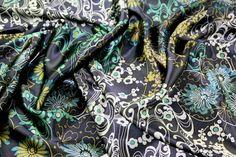 100% Silk Satin Print Dress Fabric Navy Blue | Fabric | Dress Fabrics | Minerva Crafts