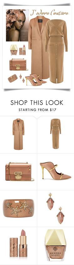 """""""Balmain Coin Embellished Nude Leather Bag Look"""" by romaboots-1 ❤ liked on Polyvore featuring Maje, Temperley London, Balmain, Malone Souliers, Roberto Cavalli, Amrapali, tarte, Kendra Scott and INC International Concepts"""