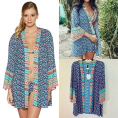 1cd2c12ce86a0 Laundry By Shelli Segal Patchwork Floral Kimono Cover Up. Adorable Open  Front Style Kimono that can be worn as a cover up at the beach and more!