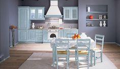 NORA, cucina ideale per chi ama la presenza del tono e dello stile COUNTRY. Ante in massello color azzurro che esprimono vivacità e calore nell'ambiente. Cosa ne pensate?