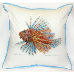 Lion Fish Tropical Whimsy Beach Cottage Pillow - perfect for outdoor living!
