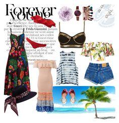 """Island getaway wardrobe"" by xxannajohnstonxx on Polyvore featuring Norma Kamali, Isolda, RVCA, Cara, Valentino, Miu Miu, Casadei, Jessica Carlyle and Jonathan Simkhai"