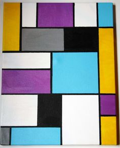 """eatsleepdraw: """"Acrylic on Canvas, Mondrian inspired CMYK Painting by Illustrated Example"""" A super easy way to add something to your walls: get a large canvas, small cans of paint in complimentary. Small Canvas Paintings, Mini Canvas Art, Diy Canvas, Large Canvas, Canvas Ideas, Tape Painting, Easy Canvas Painting, Abstract Canvas, Diy Painting"""