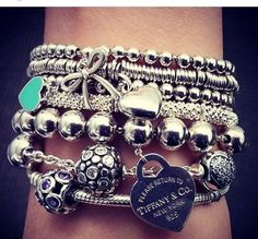 wish i had my tiffany bracelet at school so i could wear something similar to this
