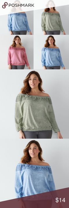 "SONOMA Crochet Off-the-Shoulder Top Plus Size NWT BRAND NEW WITH TAG:  This women's off-the-shoulder top from SONOMA Goods for Life is both easy to wear and on trend, making it the perfect pick for your casual wardrobe. MSRP. $44  PRODUCT FEATURES  Off-the-shoulder design Crochet trim Smocked hem 3/4-length sleeves  Fabric & Care 100% Cotton Machine wash  ​Actual measurments: Size 1X: bust: 55"", waist: 54"", length: 26"" Size 3X: bust: 60"", waist: 60"", length: 26"" Sonoma Tops Blouses"