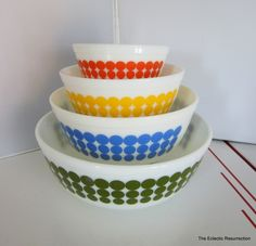 Vintage Pyrex New Dot Mixing Bowl Set-Complete Set. $165.00, via Etsy.
