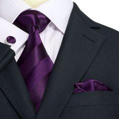 Eggplant Purple Stripe Silk Necktie Set JPM1822N
