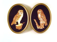 Owls Finished Embroidery on Black Velvet, Oval Wall Hangings, Vintage wall decor, complimentary pair, framed Ecstasy Giftware Etsy Vintage, Vintage Decor, Oval Frame, My Childhood Memories, Vintage Walls, Wall Hangings, Black Velvet, Owls, Feathers
