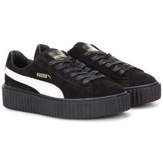 FENTY by Rihanna Suede Creepers ($160) ❤ liked on Polyvore featuring shoes, black, black shoes, puma footwear, kohl shoes, puma creeper and black creeper shoes