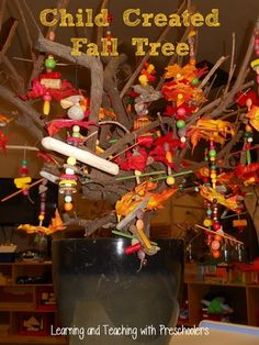 Items Used: Silk Leaves, Wood Beads in fall colors, Corks, Bottle Tops, Drift Wood, Acorn Hats, Old Crayons in fall colors, Craft sticks in fall colors, Decorative Beads in fall colors ≈≈