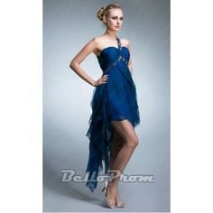 Blue Layered One Shoulder High Low Dress A4132 at belloprom.com