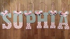 Grey and Pink Minnie Mouse Name by LeDecor on Etsy