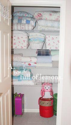 How to organize the linen closet | A Bowl Full of Lemons