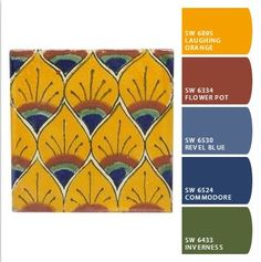 """Yellow Peacock Feathers"" Mexican Talavera tile is the inspiration for a polymer clay cane and cane sheet. Color palette created at http://www.sherwinwilliams.com/chipit Tile image courtesy of www.MexicanTiles.com"