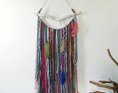 Bohemian Decor, Boho Garland Wall Hanging, Wall Tapestry, Yarn Mobile, Boho dreamcatcher, Gypsy decor, Unusual wall decor