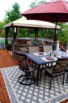 ultimate decks for outdoor patio design ideas – your outdoor living 2 Backyard Canopy, Patio Gazebo, Backyard Patio Designs, Patio Ideas, Sloping Backyard, Deck Canopy, Pergola Kits, Pergola Ideas, Gazebo Roof