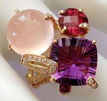 "Bellarri ""Tuscany"" 18K Pink Gold, Amethyst, Rhodolite, Rose Quartz & Diamond Ring $1350"