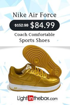 new style 8351d 5a4a3 NIKE Air Force 1 Trainers Comfort Sport Shoes Gold
