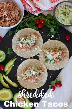 This Shredded Chicken Tacos recipe is so easy and requires NO COOKING! Warmed corn tortillas are loaded with juicy, shredded rotisserie chicken then topped with a cilantro coleslaw. Pile on all your favorite toppings from fresh sliced avocado to soft and crumbly feta cheese. This easy dinner idea is perfect for those weeknights when you little to no time to prepare dinner. #shreddedchickentacos #chickentacos #tacos | recipesworthrepeating.com