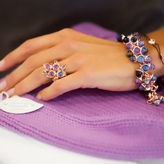 """「 Tamara Comolli wearing her #MikadoFlamenco #bracelet from the #Colorstory """"Blues"""" with #Amethyst #Iolite #Tanzanite #gemstones in #18K #gold and her… 」"""