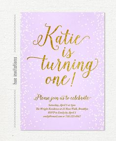 First Birthday Girl Invitation Photo Card Lavender Purple Gold - 1st birthday invitations girl purple