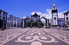 Portas da Cidade in Ponta Delgada - Sao Miguel island - Azores, Portugal Azores Portugal, Portugal Travel, Portugal Trip, Funchal, Ponta Delgada, World Cruise, Portuguese Culture, Portuguese Tiles, Beautiful Places In The World